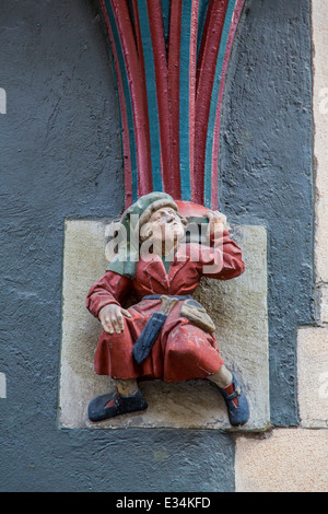 Detail on an old house in the old town of Tübingen, - Stock Photo