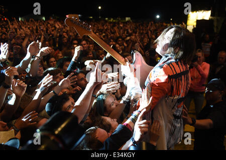Frontman of the Canadian indie rock band 'Arcade Fire, Win Butler, performs at the Southside Festival in Neuhausen - Stock Photo