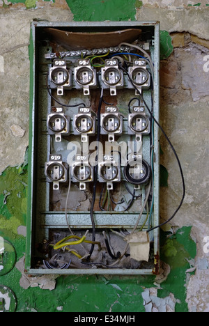 old fuse box in an abandoned house e34mjh fuse box in house stock photo, royalty free image 27195372 alamy fuse box in house at aneh.co