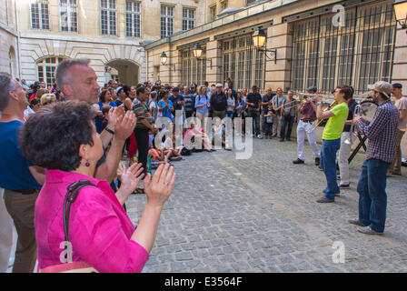 Paris, France, Audience Clapping at Annual National Music Festival 'Fete de la Musique' crowd in the streets of - Stock Photo