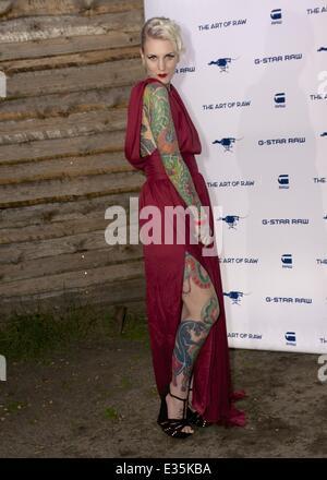 Promis bei der G-Star Raw Show im Berliner Kater Holzig  Featuring: das in Berlin lebende österreichische Tattoo - Stock Photo