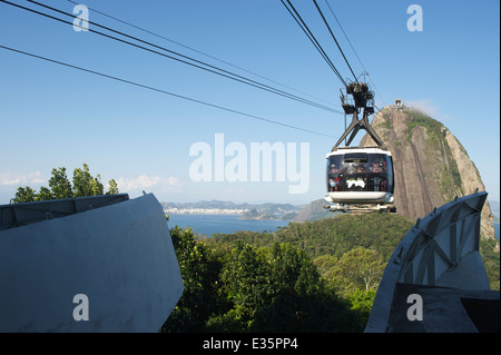 RIO DE JANEIRO, BRAZIL - OCTOBER 20, 2013: Cable car full of tourists arrives at the station on Sugarloaf Mountain. - Stock Photo