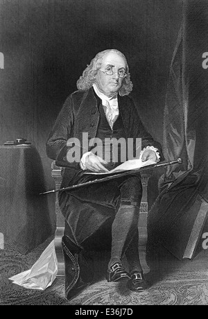 portrait of Benjamin Franklin, 1706 - 1790, a North American printer, publisher, writer, scientist, inventor and - Stock Photo