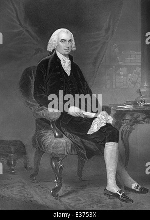 portrait of James Madison, 1751 - 1836, fourth President of the United States of America between 1809 and 1817 - Stock Photo