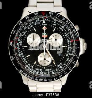 1990's Tag Heuer Pilot 1/10 Chronograph Men's Wristwatch (Model 530-306). - Stock Photo