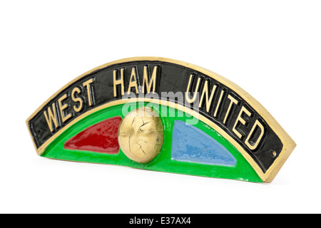 Vintage 'West Ham United' name plate from LNER Class B17 steam locomotive. - Stock Photo