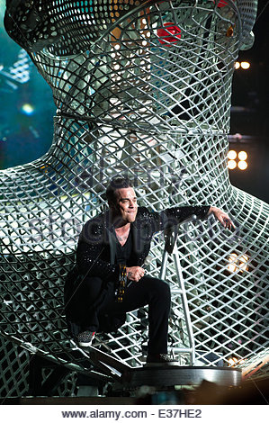 Robbie Willams performs in concert at the San Siro stadium  Featuring: Robbie Willams Where: Milan, Italy When: - Stock Photo