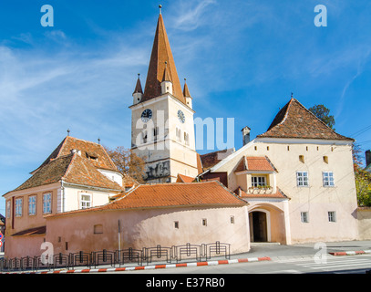 Fortified Evangelical Church Cisnadie, was built in 1349 in honor of Saint Walpurga. Sibiu, Transylvania, Romania. - Stock Photo