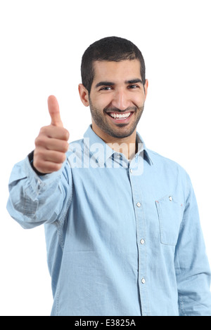 Arab casual happy man gesturing thumbs up isolated on a white background - Stock Photo