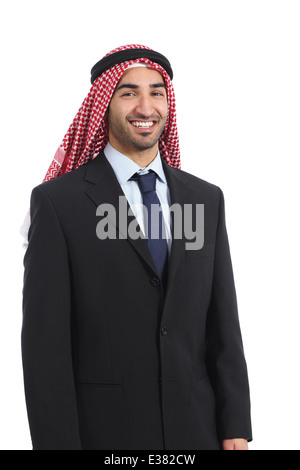Arab saudi emirates businessman posing smiling standing isolated on a white background - Stock Photo
