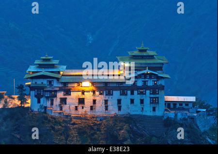 Trashigang Dzong at dusk, Trashigang, eastern Bhutan - Stock Photo