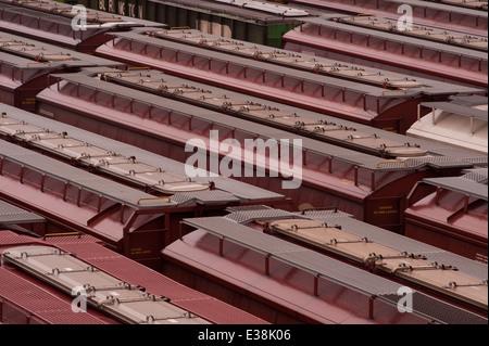 Switch yard for box cars carrying cargo Seattle Washington USA - Stock Photo