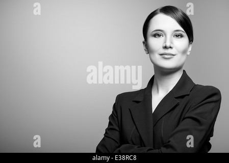 Black and white portrait of a beautiful woman - Stock Photo
