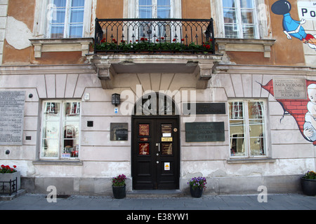 Marie Curie Museum at the building where she was born in Warsaw - Stock Photo