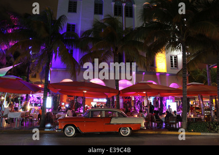 The eclectic South Beach neighborhood of Miami Beach glitters with nightlife – all day long along its Art Deco hotels. - Stock Photo