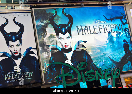 Billboard advertising Disney's Maleficent showing in theaters starting May 30, 2014, New York, USA - Stock Photo