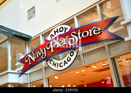 Navy Pier Store sign above entrance, Chicago - Stock Photo