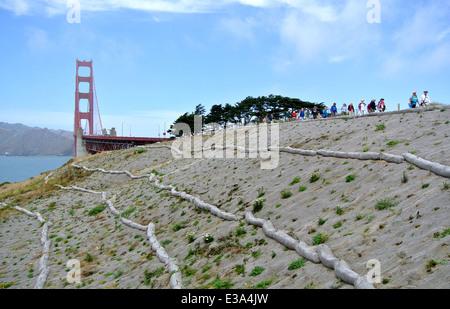 straw waddles control soil erosion on coastal trail leading to the golden gate bridge - Stock Photo
