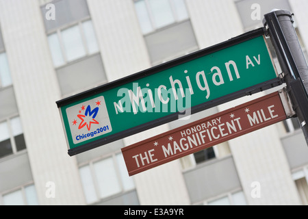 N Michigan Av, The Magnificent Mile Sign, Michigan Avenue, Chicago - Stock Photo