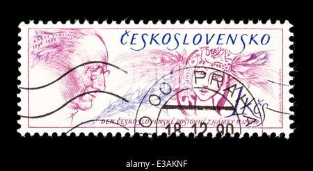 Postage stamp from Czechoslovakia depicting Karel Svolinsky, Czech graphics designer. - Stock Photo