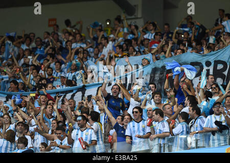 Minas Gerais, Brazil, 21st June, 2014. Fans of Argentina are seen during the game against Iran in Group F of the - Stock Photo