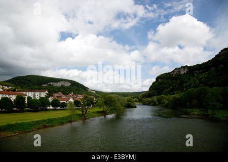 French river Doubs with city of Baume-les-Dames, Franche-Comté, Doubs, France - Stock Photo