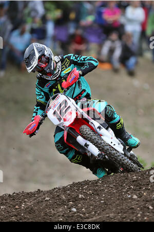 Teutschenthal, Germany. 22nd June, 2014. German motocross rider Maximilian Nagl in action during the first race - Stock Photo