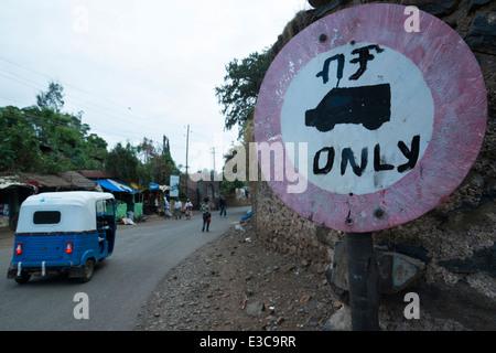 Road traffic. Gonder. Northern Ethiopia. - Stock Photo