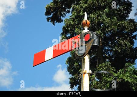 Semaphore signal showing the lower quadrant home danger at the railway station, Hampton Loade, England, UK, Europe. - Stock Photo