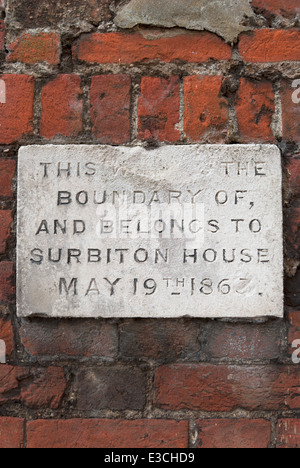 plaque marking the boundary of the former surbiton house, a manor house now consumed by kingston upon thames, surrey, - Stock Photo