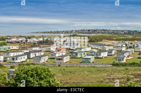 SILVER SANDS HOLIDAY PARK LOSSIEMOUTH WITH THE TOWN IN THE DISTANCE MORAY COAST SCOTLAND - Stock Photo