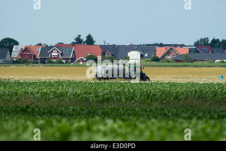 Leiferde, Germany. 23rd June, 2014. A tractor drives along a country road in Leiferde, Germany, 23 June 2014. An - Stock Photo