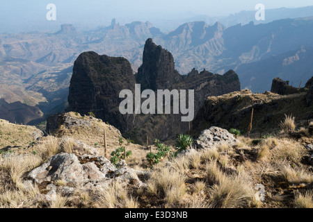 Imet Gogo viewpoint. Trecking in the Simien Mountains National Park. Northern Ethiopia. - Stock Photo