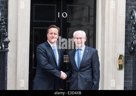Downing Street, London, UK. 23rd June 2014. Herman Van Rompuy, the president of the European Council, meets David - Stock Photo