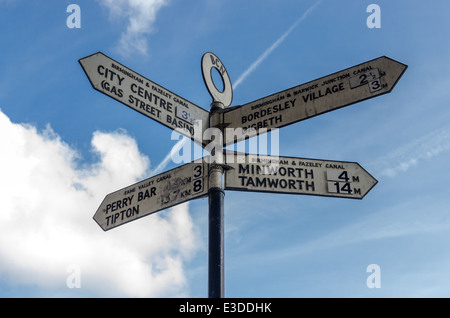 Direction signs at the junction of the Birmingham and Warwick Junction canal, Birmingham and Fazeley canal and Tame - Stock Photo
