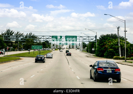Overhead Sign to South on 98 /80 towards Palm Beach Airport in Florida - Stock Photo