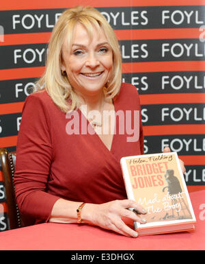 Helen Fielding signs copies of her new book 'Bridget Jones: Mad about the boy' at Foyles Charing Cross Rd bookstore - Stock Photo