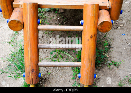 A set of stairs on a playscape at a playground. - Stock Photo