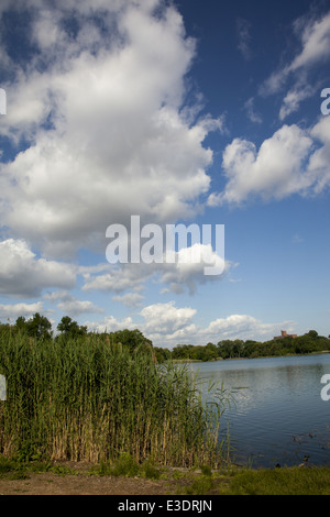 Clouds over Prospect Park Lake, Brooklyn, NY. - Stock Photo