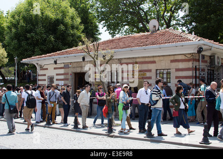 Queuing outside the Basilica Cistern in the Sultanahmet region of Istanbul Turkey - Stock Photo