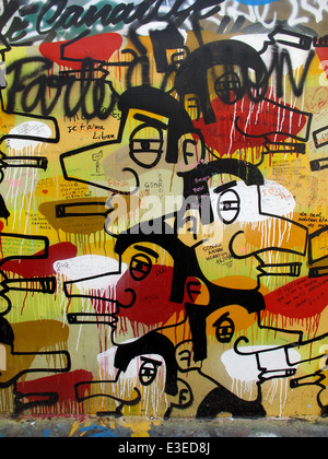 Graffiti on the wall of Serge Gainsbourg's house, rue de Verneuil,Paris,left bank,France - Stock Photo