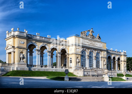 Schonbrunn gardens and Gloriette pavilion in Vienna - Stock Photo