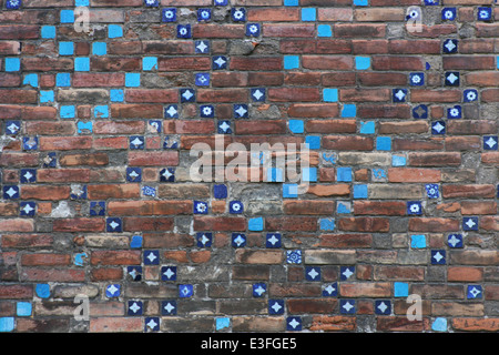 Old Brick Wall and Turquoise Tiles in Gulhane Park,Istanbul - Stock Photo