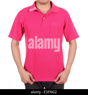 blank pink polo shirt (front side) on man isolated on white background - Stock Photo