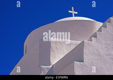 Agia Triada(Holy Trinity), one of most beautiful churches in Chora traditional village, Kythnons island, Cyclades, - Stock Photo