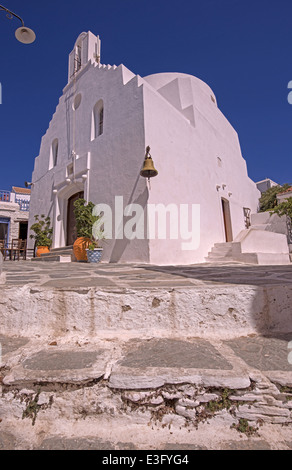 Agia Triada (Holy Trinity), one of most beautiful churches in Chora traditional village, Kythnons island, Cyclades, - Stock Photo