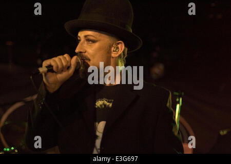 Boy George performing live at King Tuts Wah Wah Hut in Glasgow  Featuring: Boy George Where: Glasgow, United Kingdom - Stock Photo