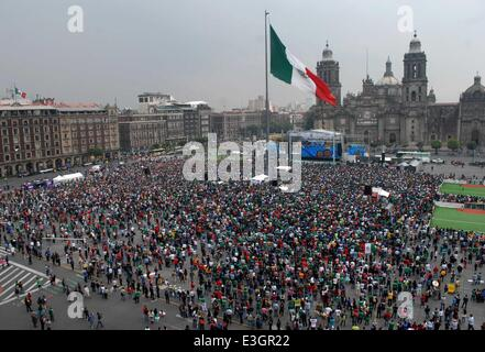 Mexico City, Mexico. 23rd June, 2014. Mexican fans watch the Group A of 2014 Brazil FIFA World Cup match between - Stock Photo