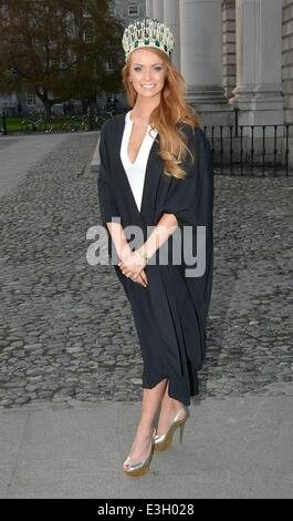 Miss Ireland 2013 Aoife Walsh graduates from Trinity College with a Post Grad in Education...  Featuring: Aoife - Stock Photo