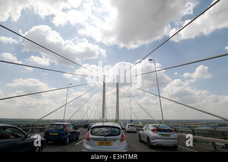 qe2 bridge queen Elizabeth the 2nd second road m25 dartford crossing traffic jam jams on the toll booth ques que - Stock Photo